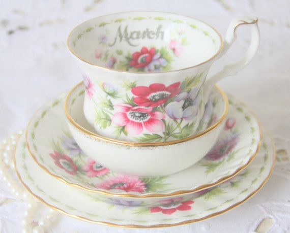 Vintage Royal Albert Bone China 'Flower of the Month' series March 'Anemones' Tea Set,Large Cup and Saucer, Pastry Plate and Candy Bowl