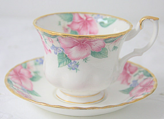 Vintage Royal Albert Bone China 'Lydia' Cup and Saucer, Gentleman Size, England