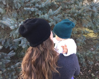 Slouchy Beanie in Merino Wool, Knit Slouch Hat, Baby to Adult Sizes