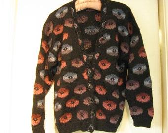 Amazing 1980s Handknit Alpaca Cardigan~~ Artknit Geranium Blossom Alpaca Sweater