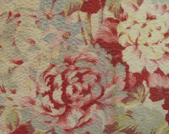 "Reduced Price!!~~Vintage  40's Barkcloth Pebblecloth 34"" x 32"" Textile Curtain Panel~~English Cabbage Rose Barkcloth"