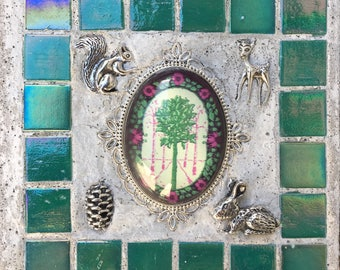 "Mixed Media Ornament ""Fairy Tale Forest"" Fairy Treasure Stones"