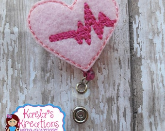 Heart Badge Holder,Valentine Badge Holder,Pink Heart Badge Holder,Heart Beat Badge Holder,Heart Rhythm Badge Holder,Nurse Badge Holder.