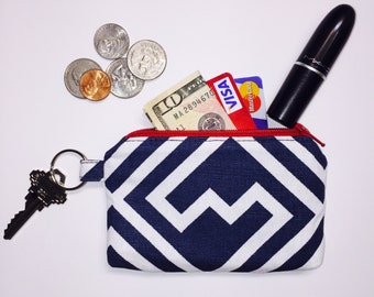 Zipper Pouch; Navy Geometric Little Zipper Pouch Wallet; Coin Pouch; ID Wallet; Mini Wallet; Personalized Zipper Pouch; Personalized Gift