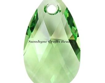 Swarovski Crystal Beads 6106 PERIDOT Pear Shaped Pendant 1 Pc - 16mm & 22mm Available