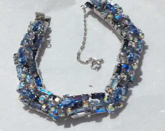 Blue bracelet signed Austria - soft blue shades - lovely