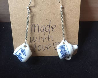 Blue Big Teapot Earrings