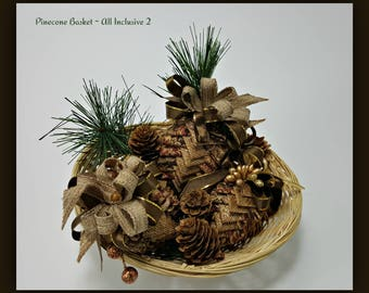 Quilted Fabric and Ribbon Pinecones Set of 3