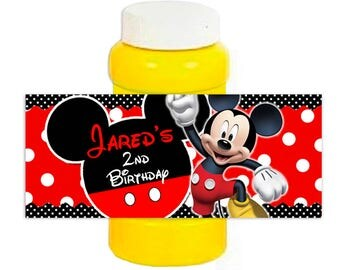 Mickey Mouse red polka dot Personalized Bubble bottle label 4oz - Printable or Printed
