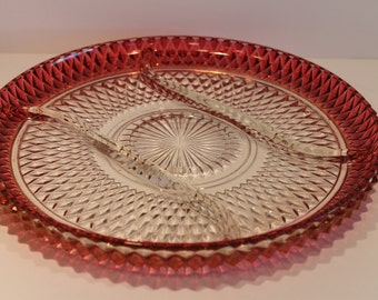 Indiana Glass Company - Cranberry Red Platter - Diamond Point Pattern - Divided Glass Dish - Ruby Red Platter