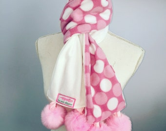Pink Polka Dot Fleece Pompom Scarf