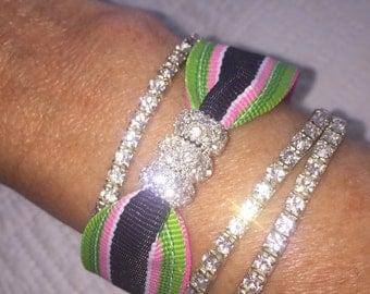 Preppy Pink Navy Green Rhinestone Bracelet