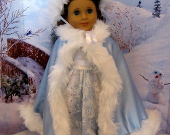 Blue Satin Winter Wonderland Dress  for 18 Inch dolls including the American Girl
