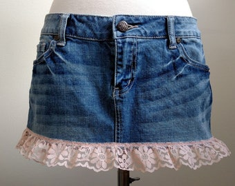 Denim Mini Skirt with Pink Lace Trim