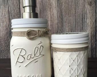 Painted Mason Jar Soap Dispenser - Bathroom Set - House Warming Gift - Wedding Shower Gift - Rustic Decor - Toothbrush Holder