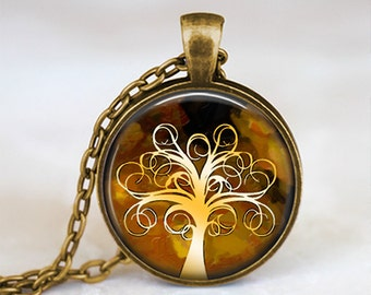 Brown and White Whimsical Tree - Handmade Pendant Necklace