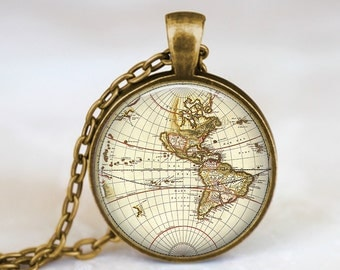Antique Map - Vintage Steampunk Handmade Pendant Necklace