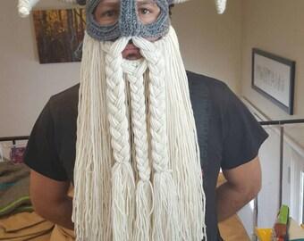 Crochet viking hat with detachable beard adult size