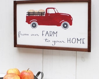 Farmhouse Kitchen Sign - Red Truck Sign - Farmhouse Sign - Wood Sign - Wooden Sign - Rustic Farmhouse - Framed Wooden Signs - Custom Sign