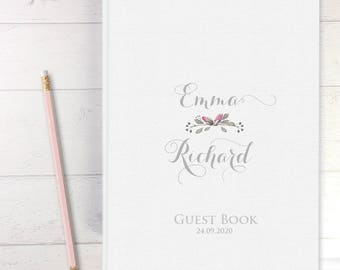 Elegant Personalized White Wedding Guest Book Padded Hardcover Delicate Wreath Bride And Groom's Name