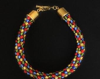Red, Blue, Gold, Olive Bracelet