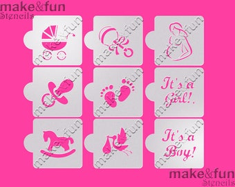 9 Pcs Baby Shower Cookie Stencil, Airbrush, Cake Stencil, Face Painting  Stencil,