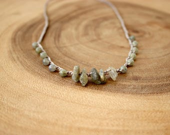 Labradorite Necklace /Boho Necklace/Crochet Necklace