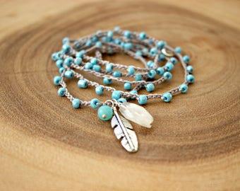 Boho Crochet Bracelet/Moon Stone Bracelet/Boho Crochet Necklace