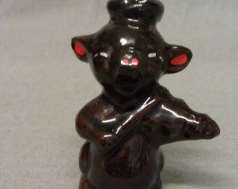 Black Cat with Red Ears and Nose Playing Guitar Cat Figurine