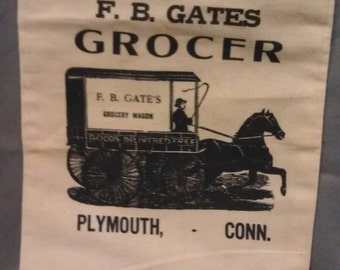 F. B. Gates Grocer Plymouth Conn. Cloth Sack