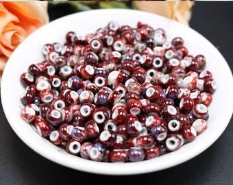 50 x glazed ceramic beads