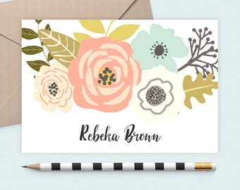 Pink Flower stationery set/floral Note card/Monogram Note Card/Personalized/name stationery, Personalized note card, custom stationery