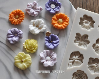 Flowers silicone Mold Fondant Gum Paste Chocolate Craft Mold, Resin Polymer Clay Metal Clay,porcelain mold,jewelry mold,cake decorative