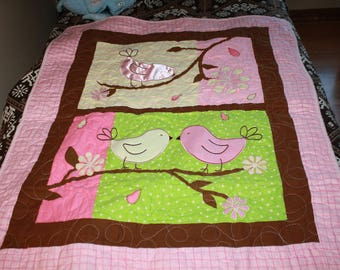 Pink with Birds Baby Quilt