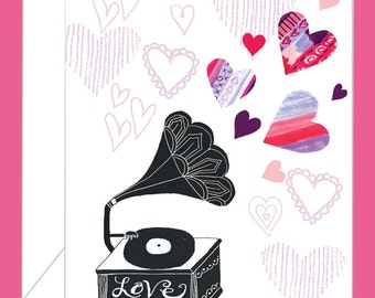 Gramophone Valentine's Day Card