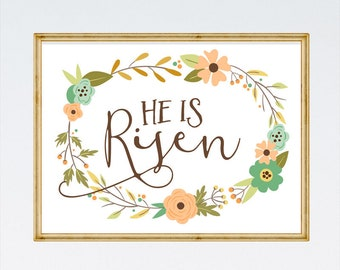 He is Risen Printable - Bible Verse Print, Scripture Printable, Christian Wall Art, Easter Printable, Easter Decorations - INSTANT DOWNLOAD