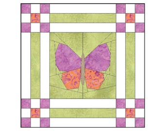 "BUTTERFLY GARDEN Quilt Block Pattern | Paper Piecing | 9-Patch | 12"" x 12"""