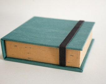 Box for Square Photos 4x4 - Handmade of book cloth | for Instagram photos | Turquoise Presentation Box | Keepsake | Photo Album