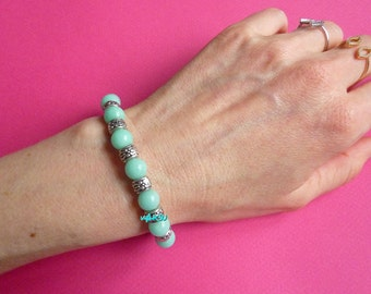 Bracelet with Malaysian jade and silver beads