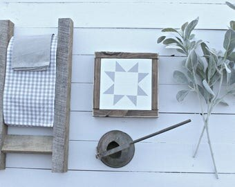 Quilt Square Wood Sign~ Gray