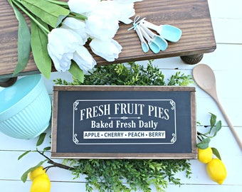 Fresh Baked Pies Wood Sign,Farmhouse House Signs,Wood Signs,Baked Fresh Daily Sign,Summer Signs,Shiplap,Home and Living,Wall Decor