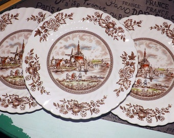 SET of 3 vintage (c.1960s) Johnson Brothers Tulip Time Multicolor Brown ironstone salad plates.  Windmill and flowers. Fluted edge. MINT!