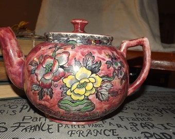 Early mid-century (c.1940s) Royal Bradwell | Arthur Wood England Lavender Lusterware teapot. Multicolor Chinoiserie florals.