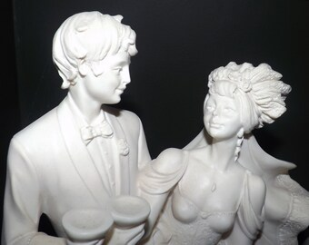 Beautiful, vintage (c.1970s) Ado Santini signed, tagged, mounted bisque sculpture of a bride and groom | wedding couple.