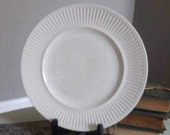 SET of 3 vintage (c. late 1960s - early 1970s) Johnson Brothers Athena White classic ironstone ribbed dinner plates.