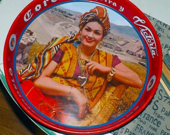 Vintage (c.1960s) Corona Extra beer | Cervesa Victoria round, metal bar | serving tray. Features Frida Kahlo and Tehuana.