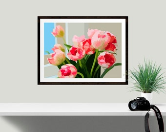Floral Art Print, Vase of Tulips Wall Decor, Ideal gift for flower lover, Gardener gift, Anniversary present, Gift for her, Home decor