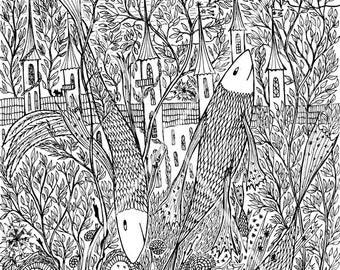 Fish and locks. Symbol art graphics. Mystic graphics of gel pens. Landscape - Fantasy