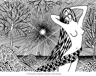 Girl and the sea. Mystic graphics of gel pens. Character black and white graphics. Digital picture.