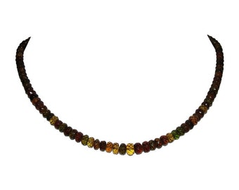 14 kt Facted Multi Color Tourmaline Rondell Bead Necklace